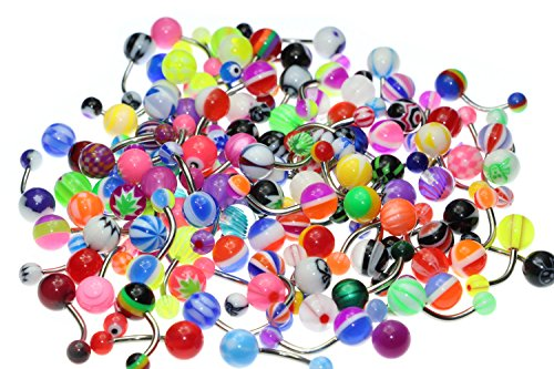 Oasis Plus Wholesale Lot 100pcs 14G Belly Button Rings Navel Barbell Acrylic Balls 316L Surgical Stainless by Oasis Plus (Image #1)