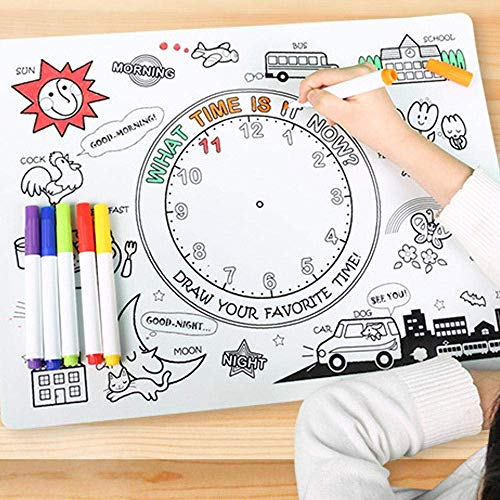 TKMom Kids Mark-Mat Food-Grade Coloring Silicone Placemat | Time Learning | with 6 Non-Toxic Markers, One Waterproof & Washable Silicone