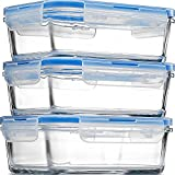 Glass Meal Prep Food Storage Containers - (3-Pack 28 Oz.) Portion Control Lunch