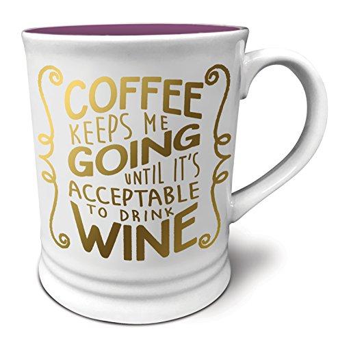 Studio Oh! Witticisms Coffee Keeps Me Going Ceramic Mug, 16 oz, Multicolor
