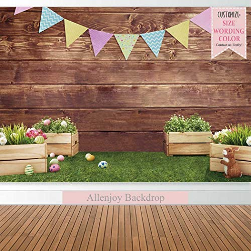 Allenjoy 8x6ft Fabric Spring Easter Backdrops for Girls Photography Wrinkle Free Happy Bunny Rabbit Green Grass Brown Wooden Wall Baby Shower Kids Newborn Portrait Background Photo Studio Shooting by Allenjoy (Image #2)