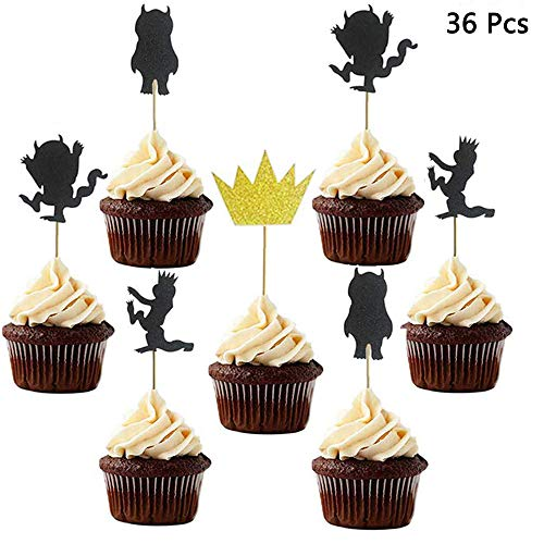 Finduat 36 Pack Where The Wild Things are Inspired Cupcake Toppers Kids Birthday Party Supplies Decorations and Cupcake -