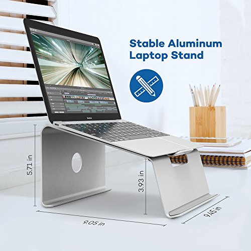 VAVA Portable Aluminum Laptop Stand for Apple MacBook / iPad / 17 inch Laptops / Smartphones, Desk / Bed Notebook Support with Anti-Slip Silicone Pad & Cable Organizer (15° Viewing Angle, Up to 30 kg)