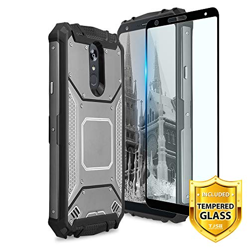 LG Stylo 4 Plus/LG Q Stylus Case, with [Full Coverage Tempered Glass Screen Protector] Aluminum Metal Premium Shockproof Military Cover with Built-in Metal Plate Back (Grey) ()