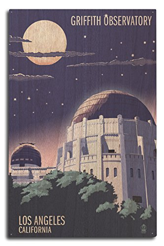 Lantern Press Los Angeles, California - Griffith Observatory at Night (Wood Wall Sign, Wall Decor Ready to Hang)