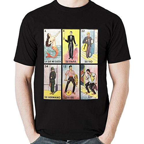Gusta Tee Shirts - Viva Mexico Men's Funny Loteria Meme La Que Me Gusta Mexican Game T-Shirt X-Large Black