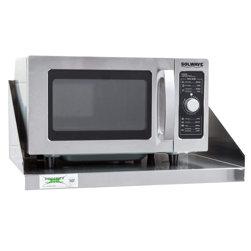 Stainless Steel Microwave Shelf - 24x18 / 24x24 - Professional/Commercial Grade NFS Certified (18'' x 24'')