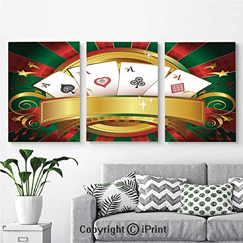 Wall Art Decor 3 Pcs High Definition Printing Gambling Fortune Wealth Playing Cards Hand Casino Roulette Winning Print Decorative Painting Home Decoration Living Room Bedroom Background,16