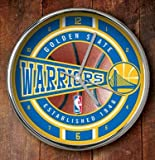 NBA Golden State Warriors Official Chrome Clock, Multicolor, One Size