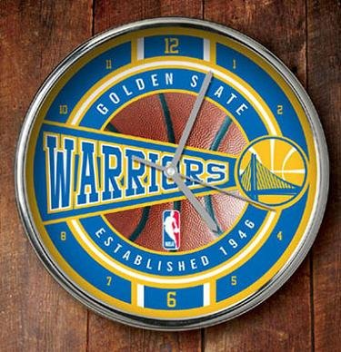 NBA Golden State Warriors Official Chrome Clock, Multicolor, One Size by The Memory Company