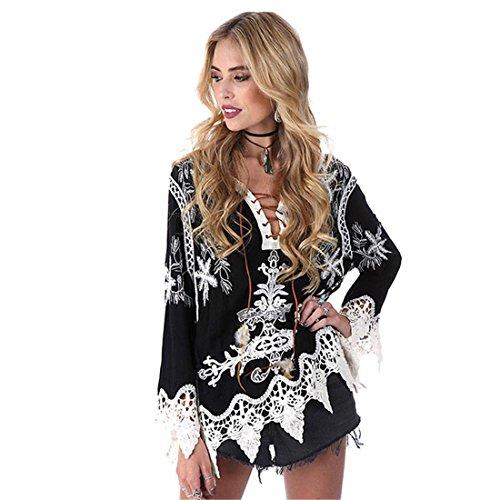 Strap Smock (Hemlock Women Retro Bohemia Smock Blouse Strap Neck Top Shirt (XL, Black))