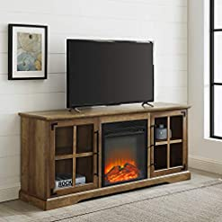 Farmhouse Living Room Furniture Walker Edison Rustic Farmhouse Wood and Glass 2 Cabinet Doors Electric Fireplace Stand Console, fits TVs up to 65″, 60 Inch, Rustic Oak farmhouse tv stands