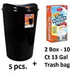 Hefty 13.8-Gallon Semi-Round Touch Lid Trash Can Black (5 Pcs + Trash bag)