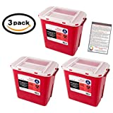 Sharps Container 2 Gallon - Plus Vakly Biohazard Disposal Guide (3 Pack)