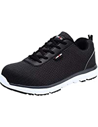 LARNMERN Mens Steel Toe Safety Shoes,LM-30 Knit Breathable Lightweight Reflective Work Shoes Slip Resistant