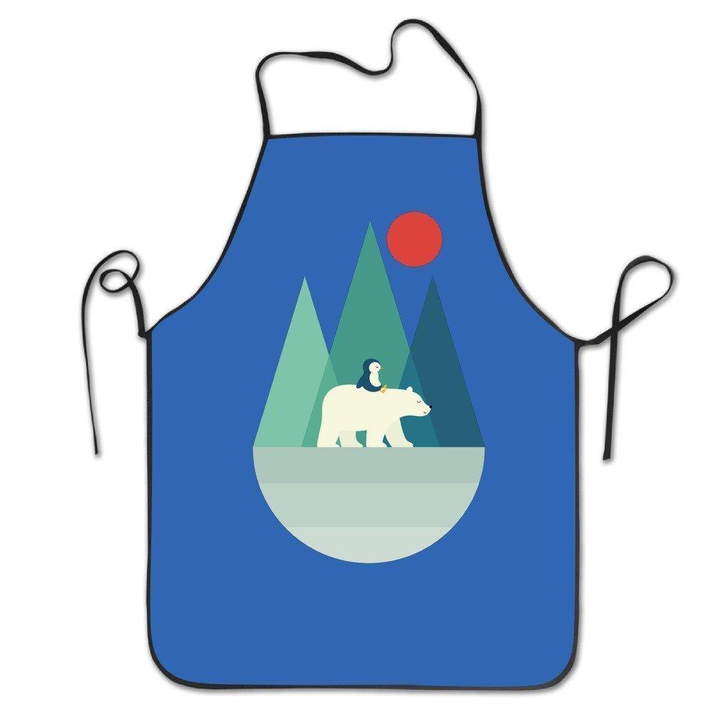 Polar Bear and Penguinユニセックス料理キッチンエプロンシェフエプロンよだれかけ   B07DHD7YNT
