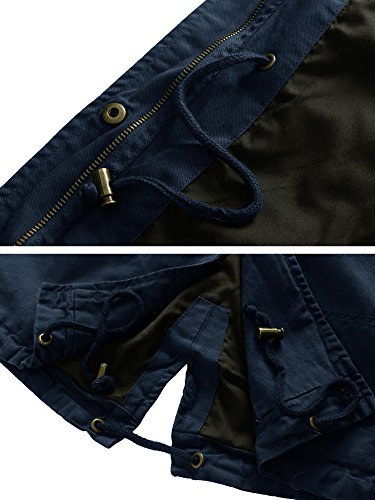 Long Women's Drawstring Sleeves Up Zip Navy Military Jacket with WenVen Aq5dq