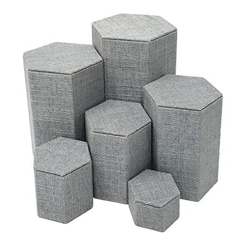MOOCA Burlap Gray Color Linen Jewelry Display Risers Stacking Nested Set, 6 PCS