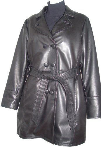 Paccilo 5006 Classic Leather Trench Coats Womens Business Clothing Soft Lamb by Paccilo