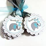 Baby Boy Ready to Pop Elephant Party Favor Tags - Baby Shower Wine Bottle Label Tags - Set of 12