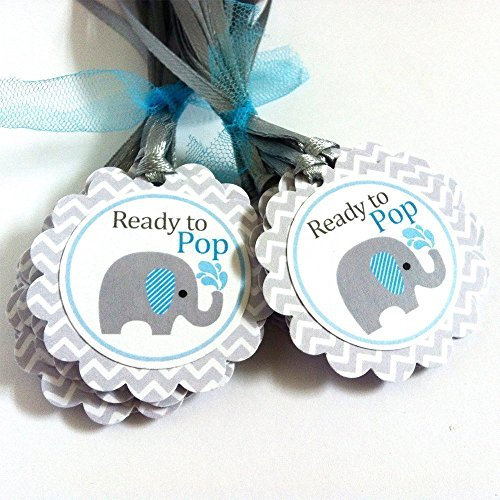 Baby Boy Ready to Pop Elephant Party Favor Tags - Baby Shower Wine Bottle Label Tags - Set of (Labels Stationery Tags)