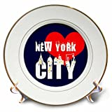 3dRose Alexis Design - American Cities - Elegant text New York City, red heart, shining windows on black - 8 inch Porcelain Plate (cp_286452_1)