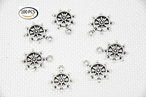 (Youkwer 100Pcs 19mm x15mm Ship Wheel Captain Rudder Charms Jewelry Making Findings Accessories Charms Pendants for DIY Crafting ,Bracelet and Necklace Making(Antique Silver ))