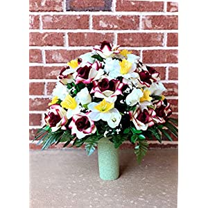 starbouquets Cemetery Vase Arrangement - Beautiful Ivory Burgundy Open Rose,Ivory Rose,Yellow Daffodil Flowers Mixture ~ Cemetery Flowers for a 3 Inch Vase 11