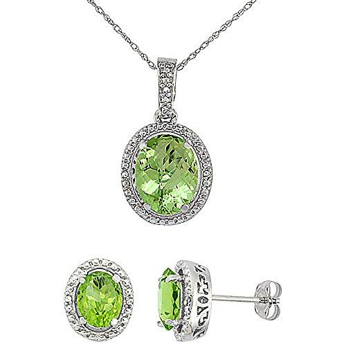 Or blanc 9Ct Péridot naturel ovale boucles d'oreilles et pendentif Set Accents de diamant