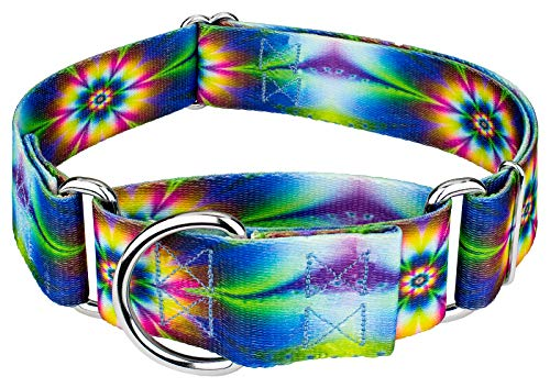 Wide Martingale Collar - Country Brook Petz - 1 1/2 Inch Tie Dye Flowers Martingale Dog Collar - Medium
