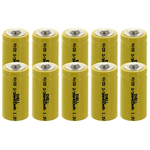 Nicd Radio Battery - (10-PACK) Exell 2/3AA 1.2V 400mAh NiCD Button Top Rechargeable Batteries for high power static applications (Telecoms, UPS and Smart grid), electric mopeds, meters, radios, RC devices, electric tools