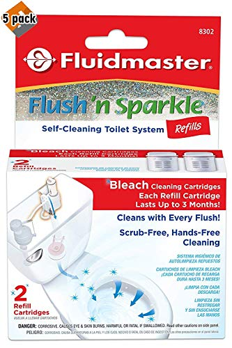 Fluidmaster 8302P8 Flush 'n Sparkle Automatic Toilet Bowl Cleaning System Refills, Bleach 10-Pack