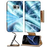Luxlady Premium Samsung Galaxy S7 Flip Pu Leather Wallet Case IMAGE 19863052 Digital abstract shapes glowing in blue tones