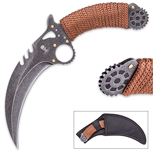 K EXCLUSIVE Kraken SteamTalon Karambit - Steampunk Style - Stonewashed Stainless Steel - Paracord - Stamped Gear Motifs; Laser Etched Art; Gold Colored Accents - Custom Nylon Belt Sheath by K EXCLUSIVE