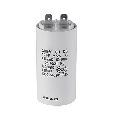 XCSOURCE Condensateur Moteur à Côque Blanche CBB60 12uF AC 450V HS839