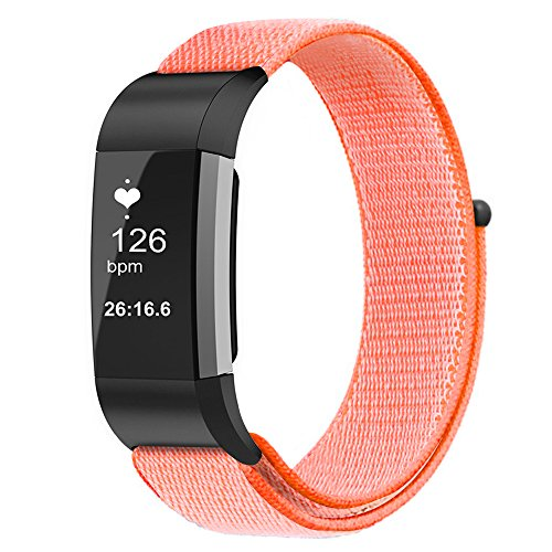 Fintie Band for Fitbit Charge 2, Nylon Sport Loop Breathable Nylon Replacement Strap Wrist Bands with Adjustable Closure for Fitbit Charge 2 HR Smart Fitness Tracker, Spicy Orange