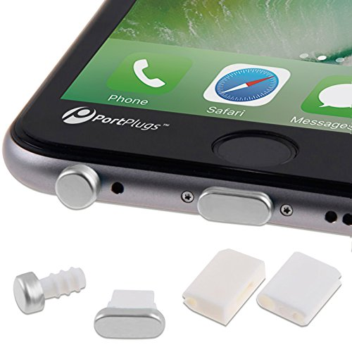 PortPlugs - Aluminum Finish Dust Plug Set - Charger and Headphone Jack Plugs- Compatible iPhone 5, SE, 6, 6s, Plus, iPad Air, iPod 5, 6  Includes Holders (Silver)