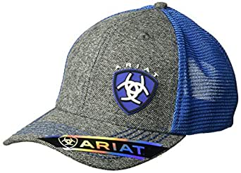 ARIAT Men's Gray Heather Blue Shine Mesh Snap Back Hat, One Size