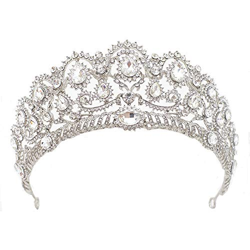 S SNUOY Crystal Brides Tiaras for Women Prom Queen Crown Princess Headband Pageant Hair Accessories Silver ()