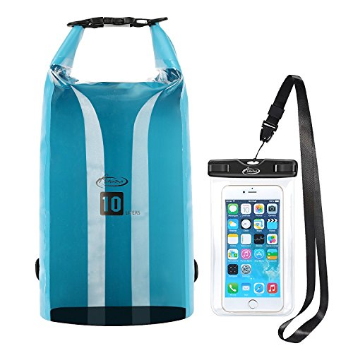 AiRunTech 10L Floating Waterproof Dry Bags Sack Beach Storage Bags Boating Kayaking Snowboarding Rafting Canoe Accessory Camping Fishing Gear Outdoor Duffle Bags with Waterproof Phone Case