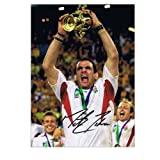 Martin Johnson Signed England Rugby Photograph: 2003 World Cup Winning Captain