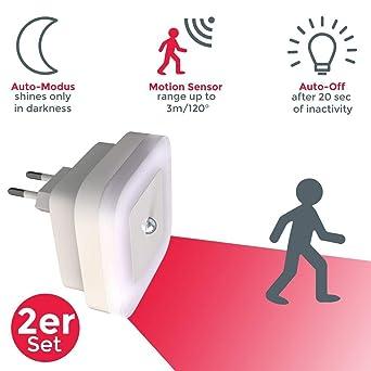 2 X LED Nachtlichter Treppen Steckdosen Lampe Mit Bewegungsmelder Leuchte Sensor