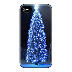 GAwilliam Case Cover For Iphone 4/4s - Retailer Packaging Blue Christmas Tree Protective Case