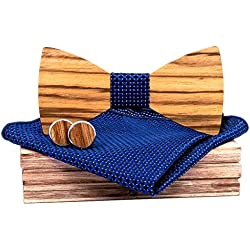 AHAYAKU Manual Wooden Bow Tie Handkerchief Set Men's Bowtie Wood Hollow Carved And Box