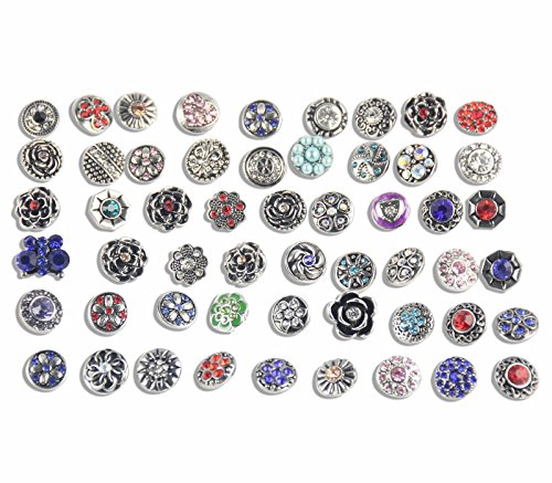Soleebee Mixed Random 12mm Alloy Rhinestone Snap Buttons Jewelry Charms DIY Accessories 50pcs