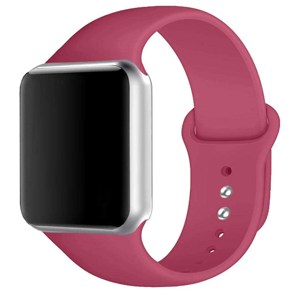 Winso Silicone Watch Band 38mm 40mm 42mm 44mm S/M M/L for Series 4/3/2/1 (Rose Red, 42(44) mm M/L)