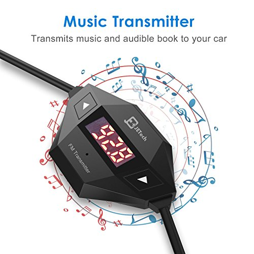 JETech Wireless FM Transmitter Radio Car Kit for Smart Phones Bundle with 3.5mm Audio Plug and Car Charger, Black by JETech (Image #5)