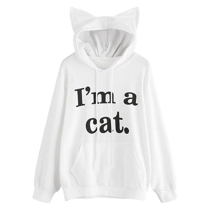 K-youth® Hoodie de Gato Sudaderas con Capucha Mujer Tumblr Manga Larga Moda Otoño