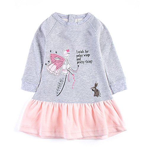 Price comparison product image Toddler Little Girl Pure Cotton Long Sleeve Spring Autumn Dress With Skirt Gray,3T/100cm,15#graypink