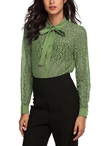 Zeagoo Women's Button Down Lace Shirt Bow Knot Collar Blouse See Through Tops (Collar Long Sleeve Top)